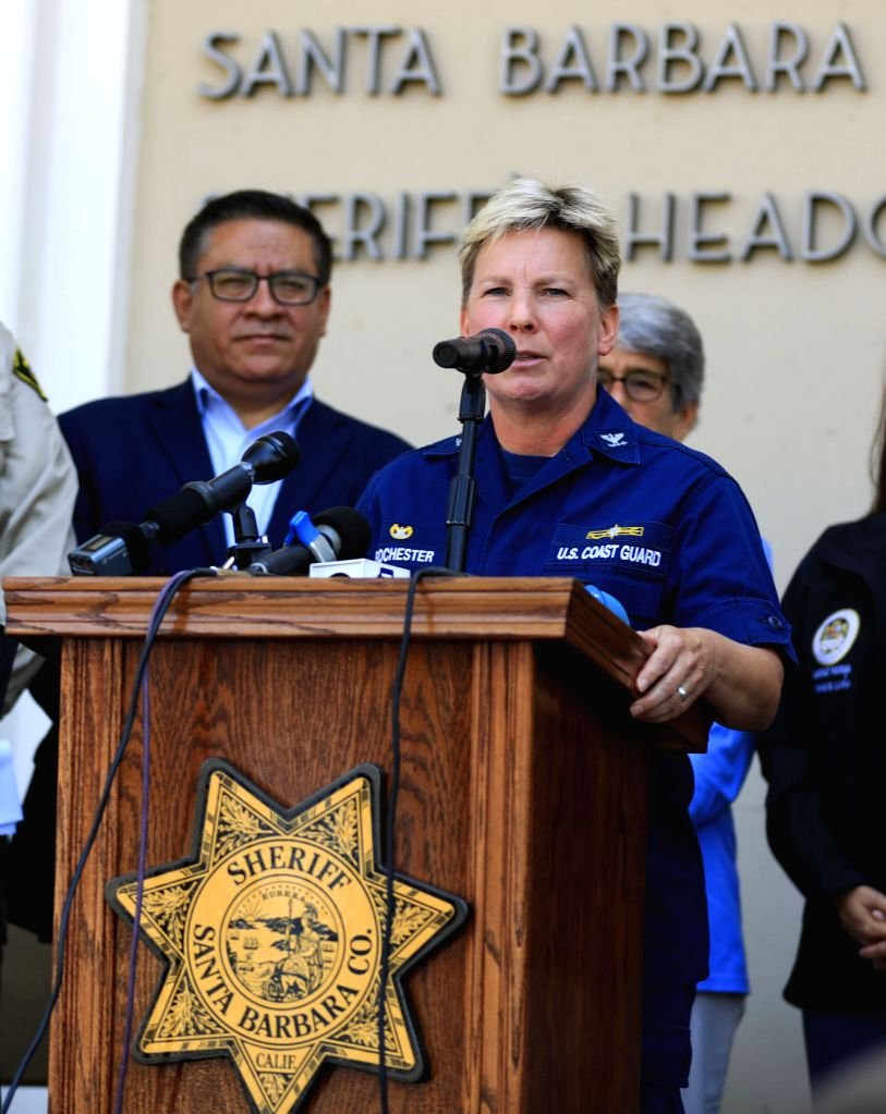 SANTA BARBARA, Sept. 3, 2019 - U.S. Coast Guard Los Angeles-Long Beach Sector Commander Captain Monica Rochester speaks during a press briefing in Santa Barbara, California, the United States, Sept. ... - Monica Rochester