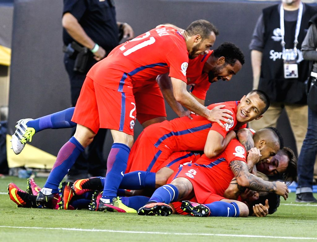 SANTA CLARA, June 19, 2016 - Players of Chile celebrate Edson Puch's goal during the quarterfinal match against Mexico of 2016 Copa America soccer tournament at the Levi's Stadium in Santa Clara, ...