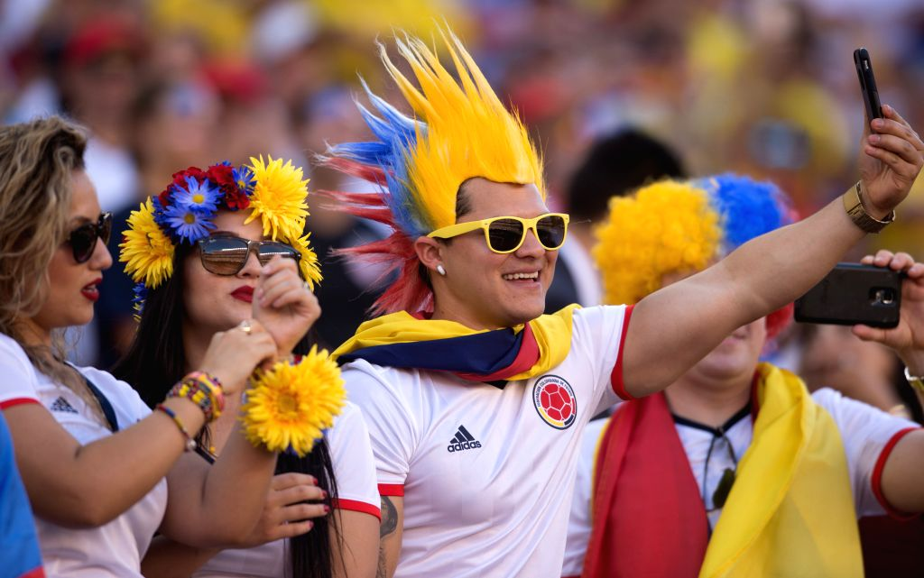 SANTA CLARA, June 4, 2016 - Spectators take selfie during the opening ceremony of Copa America Centenario games at the Levi's Stadium in Santa Clara, California, the United States, June 3, 2016.