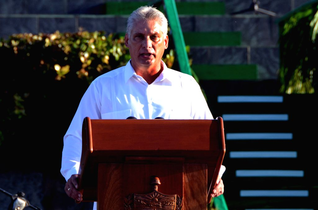 "SANTA CLARA, Oct. 9, 2017 (Xinhua) -- Cuban First Vice President Miguel Diaz-Canel delivers a speech during an event commemorating the 50th anniversary of the death of Latin American revolutionary Ernesto ""Che"" Guevara, in Santa Clara, Cuba, on Oct."