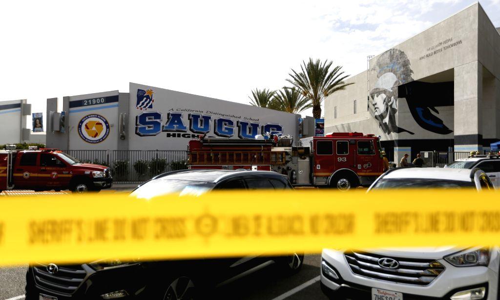 SANTA CLARITA (U.S.), Nov. 14, 2019 Photo taken on Nov. 14, 2019 shows Saugus High School where a shooting took place in Santa Clarita, Southern California, the United States. At least ...