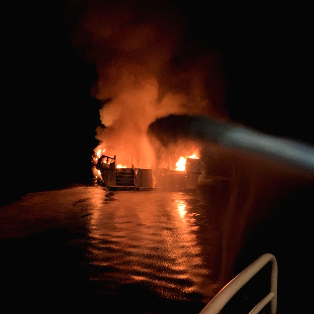 SANTA CRUZ ISLAND (U.S.), Sept. 2, 2019 (Xinhua) -- A boat is engulfed in flames near Santa Cruz Island, California, the United States, on Sept. 2, 2019. A total of 34 people are unaccounted for and five crew members were rescued after a dive boat ca