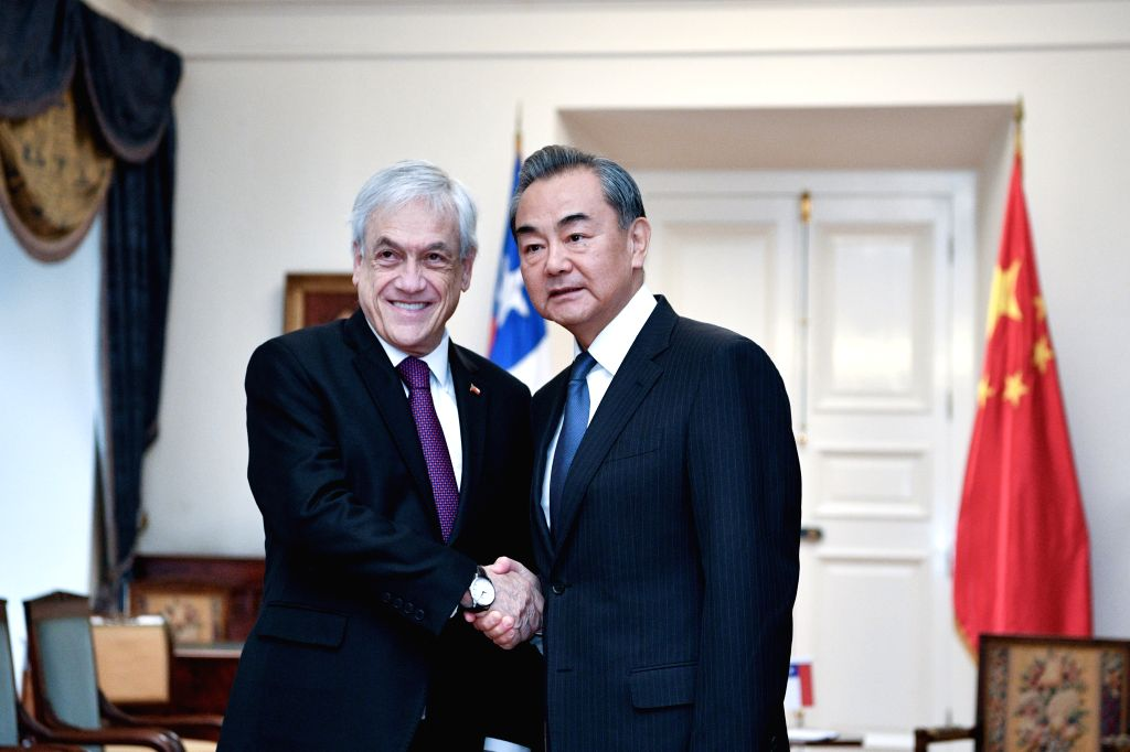 SANTIAGO, July 28, 2018 - Chilean President Sebastian Pinera (L) meets with Chinese State Councilor and Foreign Minister Wang Yi in Santiago, Chile, July 27, 2019. - Wang Y