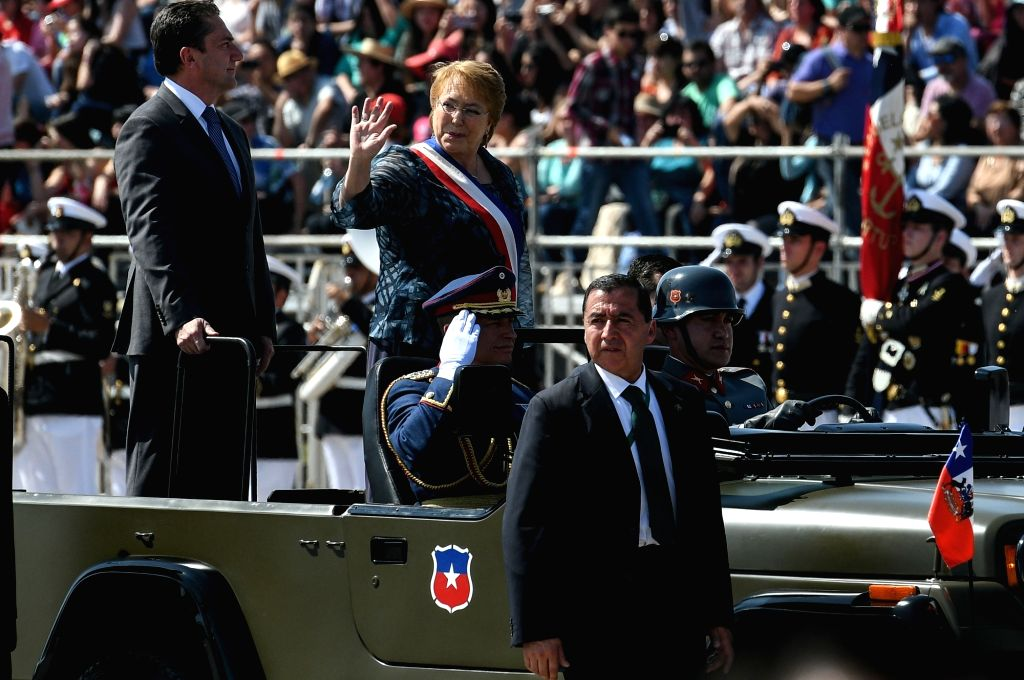 SANTIAGO, Sept. 20, 2016 - Chilean President Michelle Bachelet (C) takes part in a military parade marking the Day of the Glories of the Army in Santiago, capital of Chile, on Sept. 19, 2016.