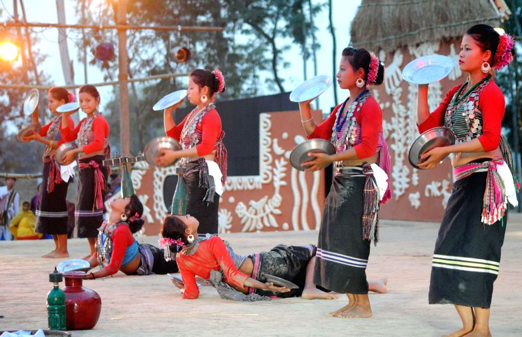 Artists participate in Adi Bimb - a three-day long national festival of tribal dance, music and theatre organised by  National School of Drama  at Dwaranda village in Santiniketan, 12 ..