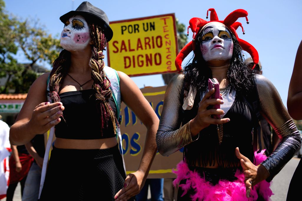 Dramatic art students take part in a national march of art workers in Santo Domingo, Dominican Republic, on March 24, 2015. A national march carried out by ...