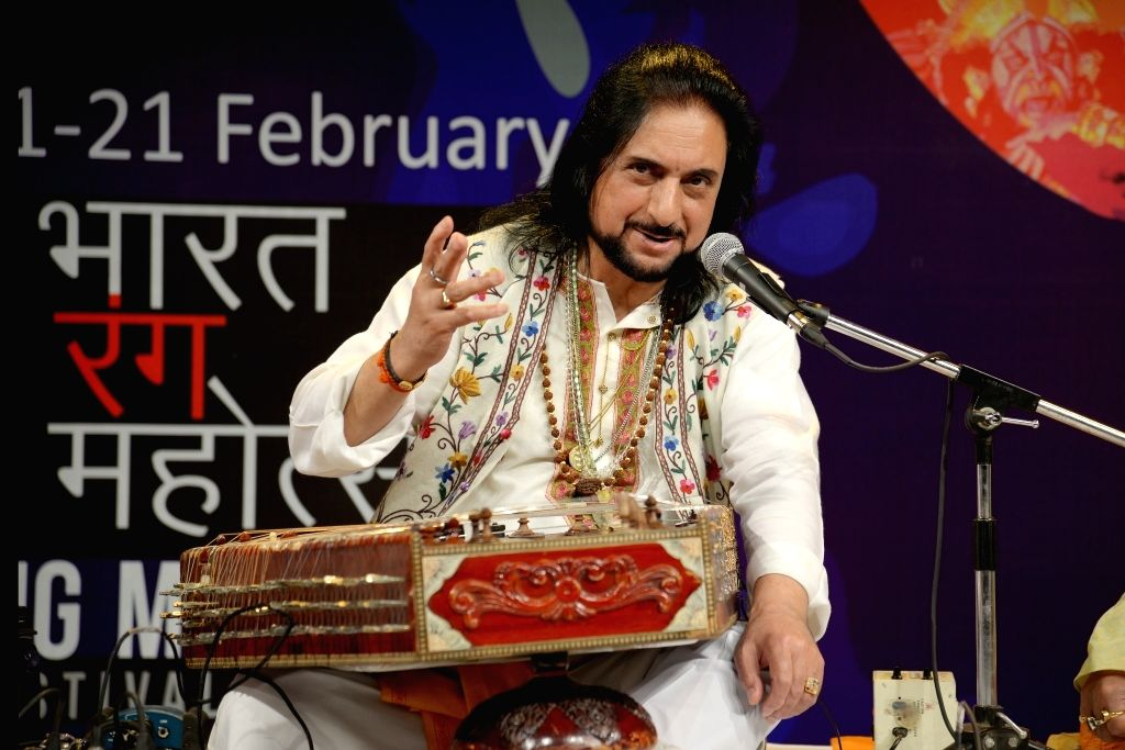 Santoor legend Pandit Bhajan Sopori performs during the 20th Bharat Rang Mahotsav 2019 in New Delhi on Feb 12, 2019.