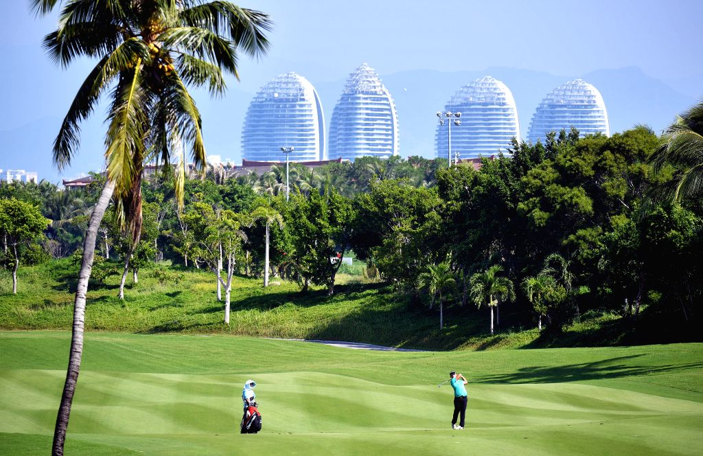 SANYA, Oct. 17, 2019 - K.P. Lin of Chinese Taipei hits during the first round match at the European Challenge Golf Tour 2019 Hainan Open in Sanya, south China's Hainan Province, on Oct. 17, 2019.
