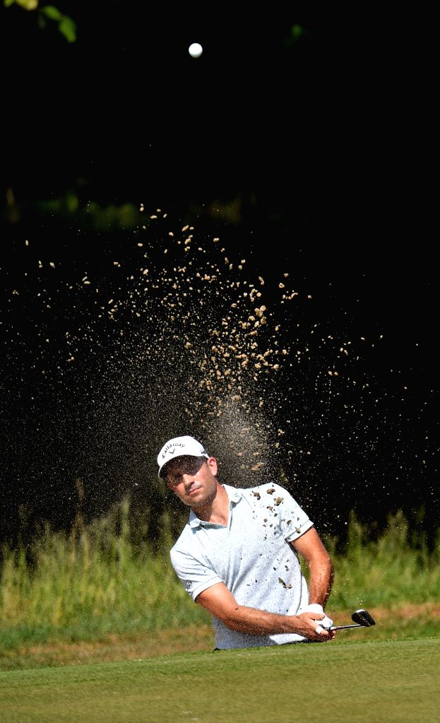SANYA, Oct. 17, 2019 - Raphael de Sousa of Swiss hits during the first round match at the European Challenge Golf Tour 2019 Hainan Open in Sanya, south China's Hainan Province, on Oct. 17, 2019.