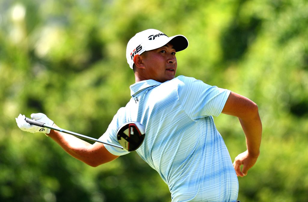 SANYA, Oct. 17, 2019 - Yuan Yechun of China tees off during the first round match at the European Challenge Golf Tour 2019 Hainan Open in Sanya, south China's Hainan Province, on Oct. 17, 2019.
