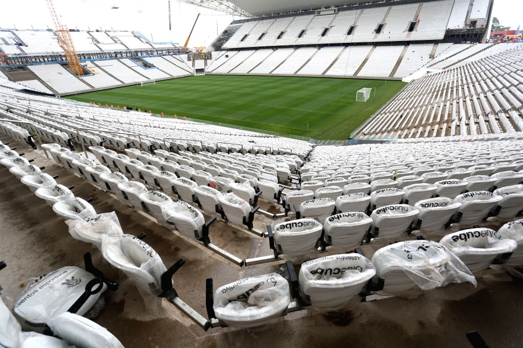 Photo taken on April 15, 2014 shows a view of the Arena Corinthians in Sao Paulo, Brazil. The stadium, which will host the opening match of the 2014 World Cup, ..