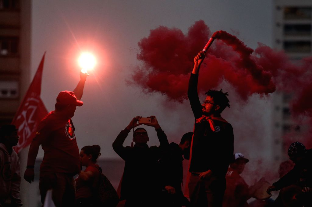 SAO PAULO, April 29, 2017 - People protest during a nationwide general strike in Sao Paulo, Brazil, on April 28, 2017. Brazil's transportation, schools and businesses were brought to a halt on Friday ...