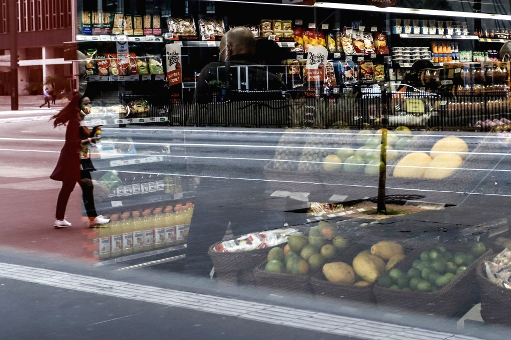 Sao Paulo (Brazil), Sept. 1, 2020 People shop for food at a supermarket in Sao Paulo, Brazil, on Sept. 1, 2020. Brazil's economy entered a technical recession after contracting 9.7 ...