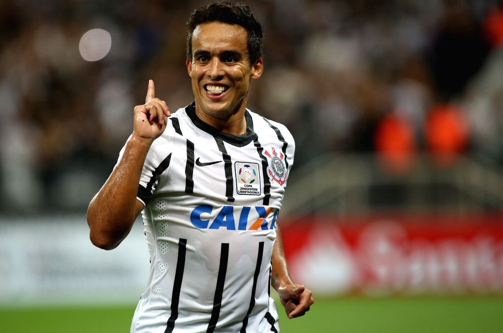 SAO PAULO, Feb. 19 Corinthians's Jadson celebrates his scoring during the match of Copa Libertadores against Sao Paulo at the Arena Corinthians Stadium in the city of Sao Paulo, Brazil, ...