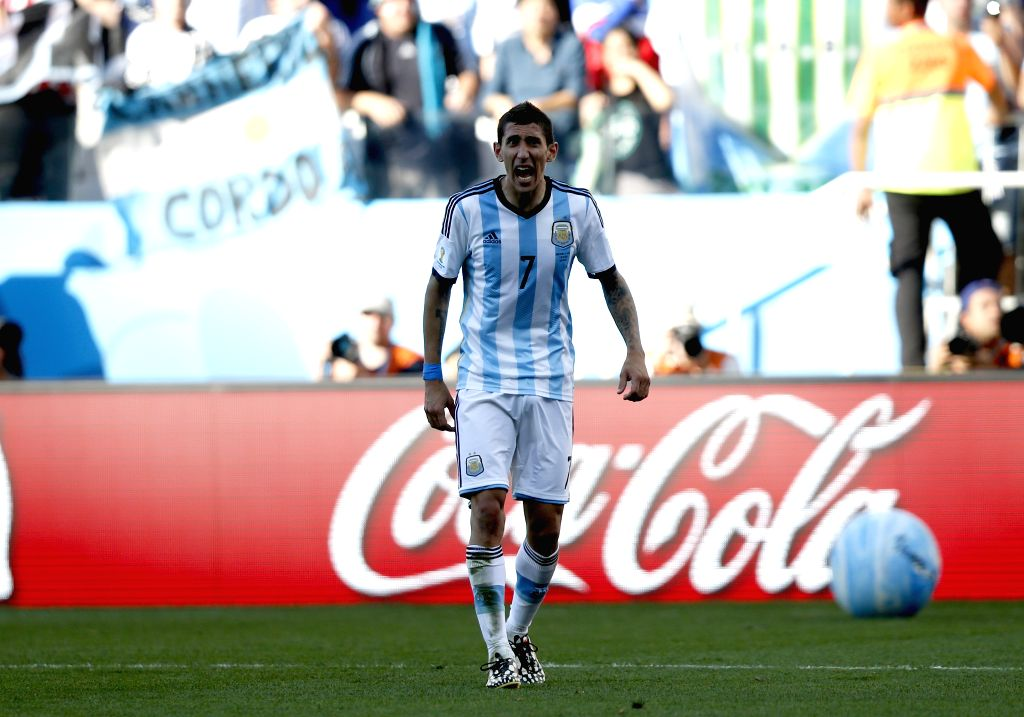 Argentina's Angel Di Maria reacts after a Round of 16 match between Argentina and Switzerland of 2014 FIFA World Cup at the Arena de Sao Paulo Stadium in Sao ...