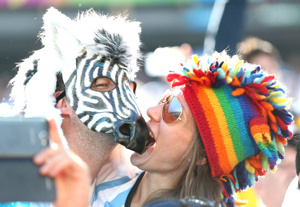 Argentina's fans pose before a Round of 16 match between Argentina and Switzerland of 2014 FIFA World Cup at the Arena de Sao Paulo Stadium in Sao Paulo, Brazil, ..