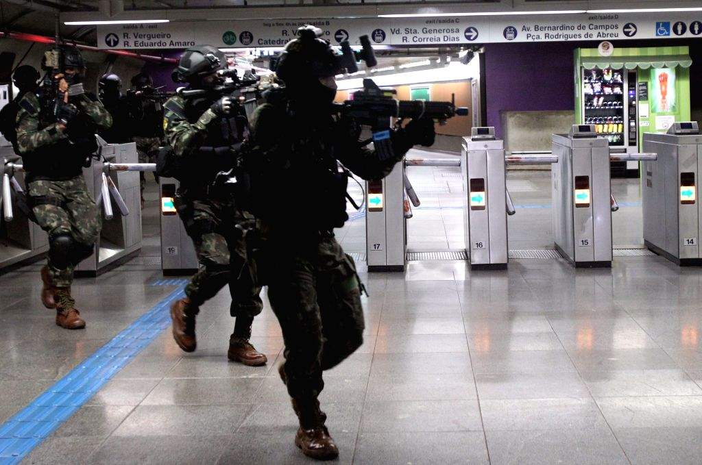 SAO PAULO, July 21, 2016 - Members of security forces takes part in an anti-terrorism attack drill in Paraiso Metro Station, in Sao Paulo, Brazil, on July 20, 2016. The drillers will remain in the ...
