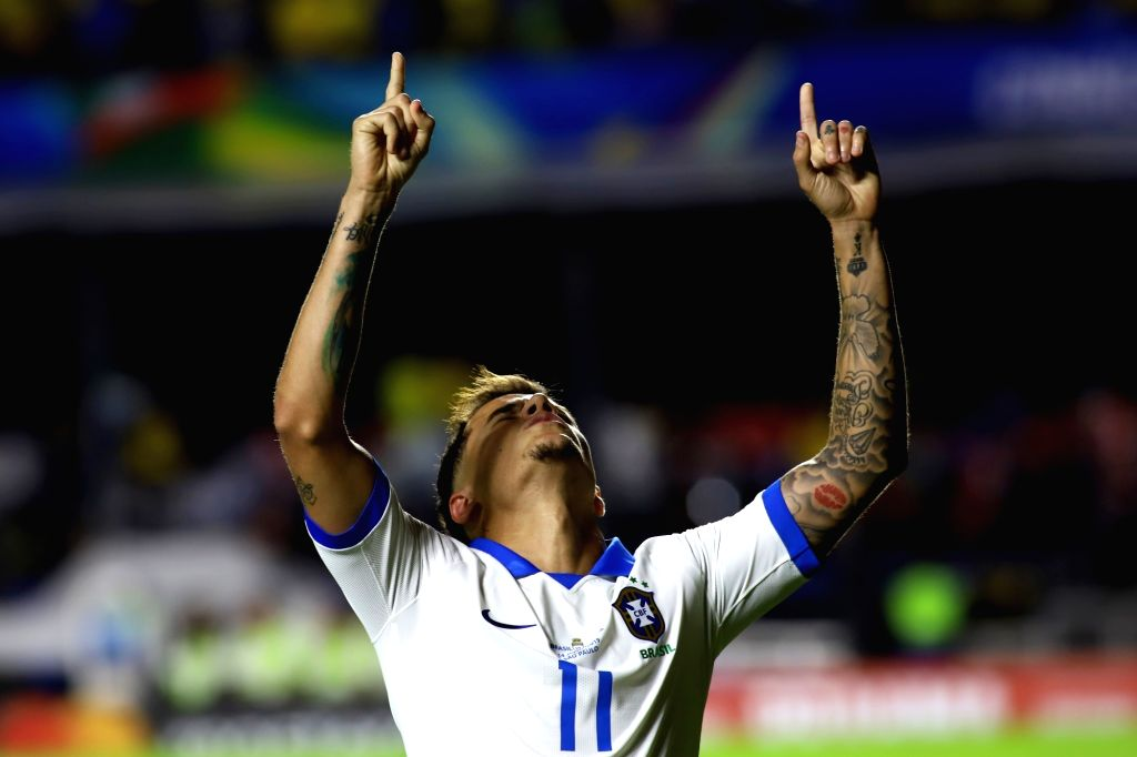 SAO PAULO, June 15, 2019 (Xinhua) -- Philippe Coutinho of Brazil celebrates after scoring during the Copa America 2019 Group A soccer match between Brazil and Bolivia at Morumbi Stadium in Sao Paulo, Brazil, June 14, 2019. (Xinhua/Rahel Patrasso/IANS