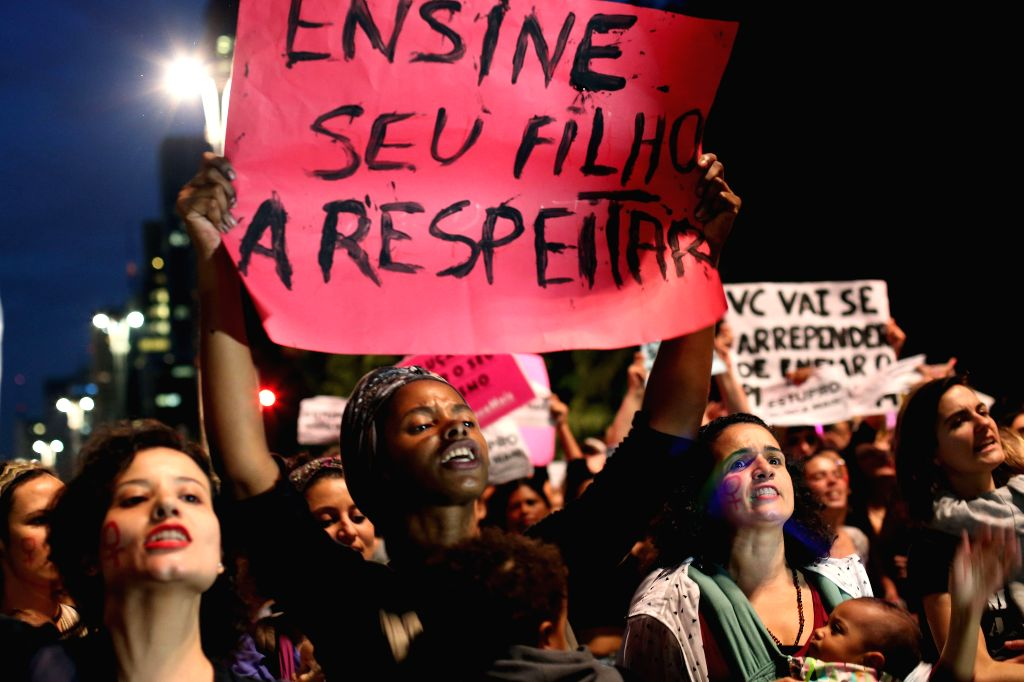 SAO PAULO, June 2, 2016 - Demonstrators take part in a protest against the gang rape of a 16-year-old girl in Rio de Janeiro and violence against women, in Sao Paulo, Brazil, on June 1, 2016.