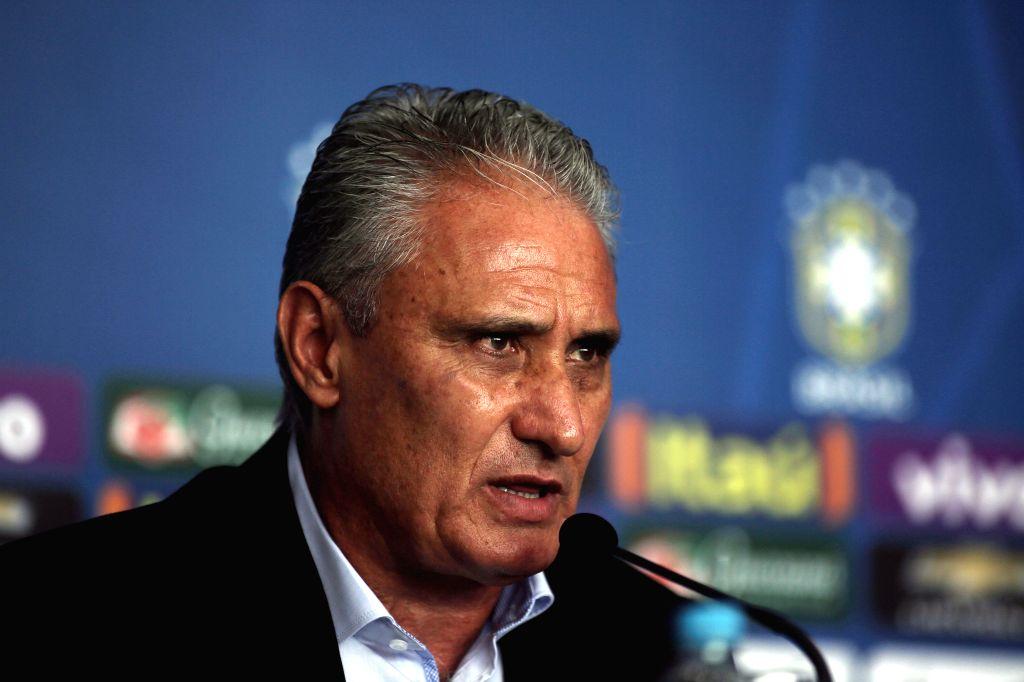 "SAO PAULO, March 4, 2017 - The head coach of the Brazilian national soccer team, Adenor Leonardo Bacchi ""Tite"", takes part in a press conference at Congonhas Airport in Sao Paulo, Brazil, ..."