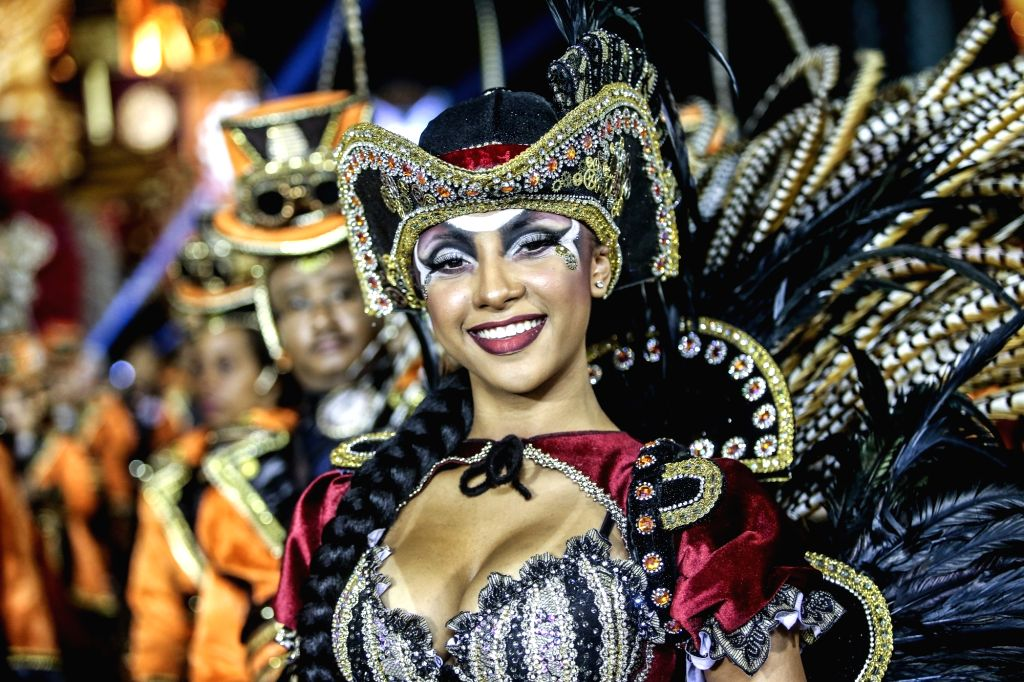 SAO PAULO, March 4, 2019 - A reveller from a samba school performs during the carnival parade in Sao Paulo, Brazil, March 3, 2019.