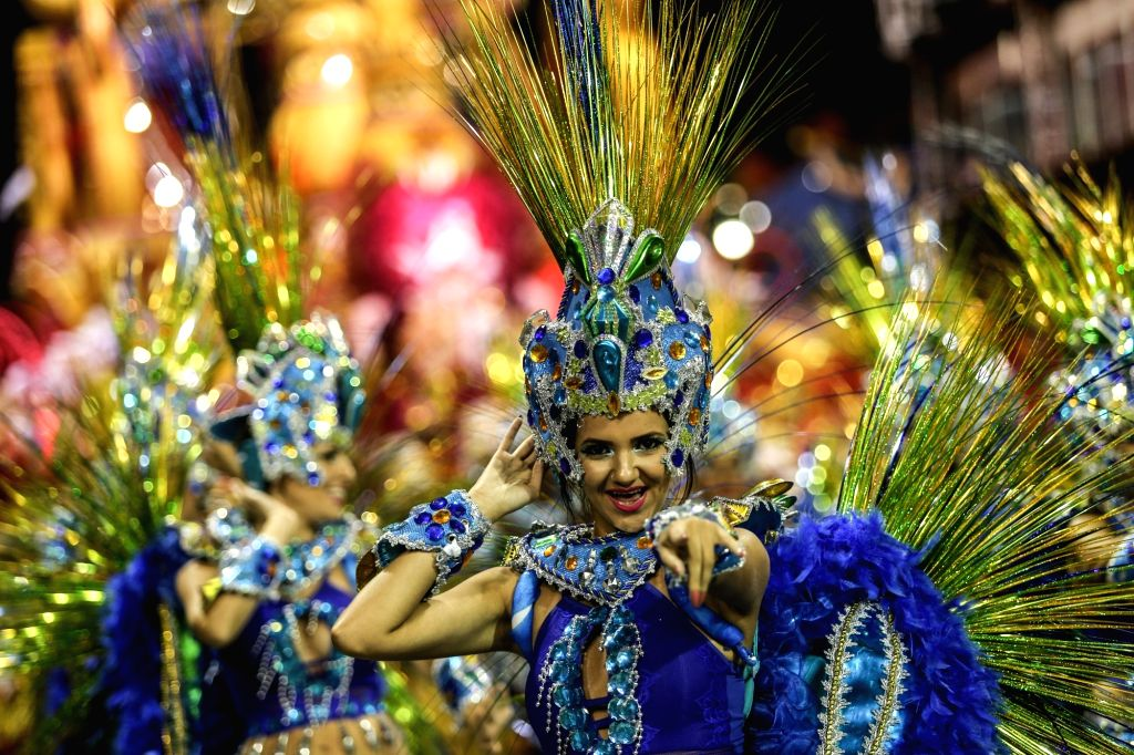 SAO PAULO, March 4, 2019 - Revellers from a samba school perform during the carnival parade in Sao Paulo, Brazil, March 2, 2019.