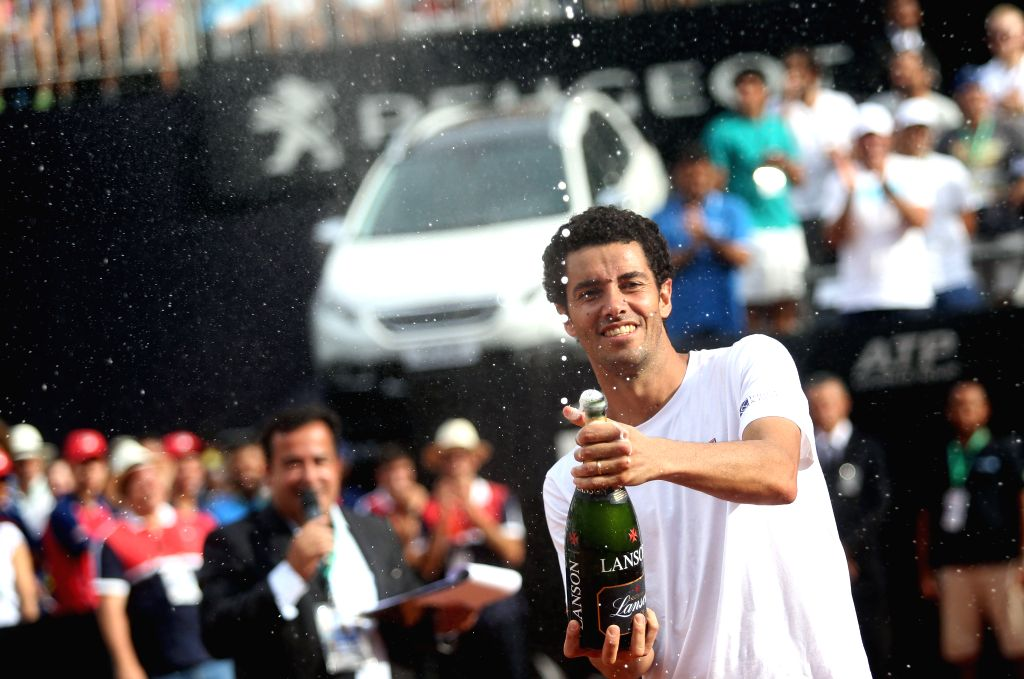 SAO PAULO, March 6, 2017 - Brazil's Andre Sa celebrates after the men's doubles final of the ATP World Tour Brasil Open 2017 with his compatriot Rogerio Dutra against Marcus Daniell of New Zealand ...