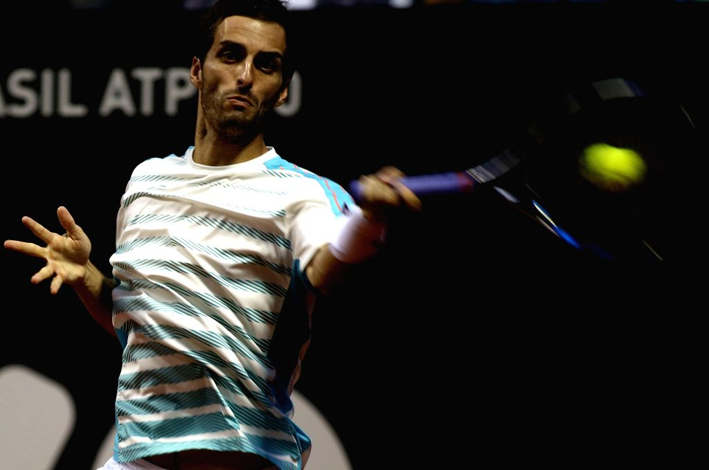 SAO PAULO, March 7, 2017 - Albert Ramos-Vinolas of Spain returns the ball to Pablo Cuevas of Uruguay during the men's individal final match of the ATP World Tour Brazil Open 2017 in Sao Paulo, ...