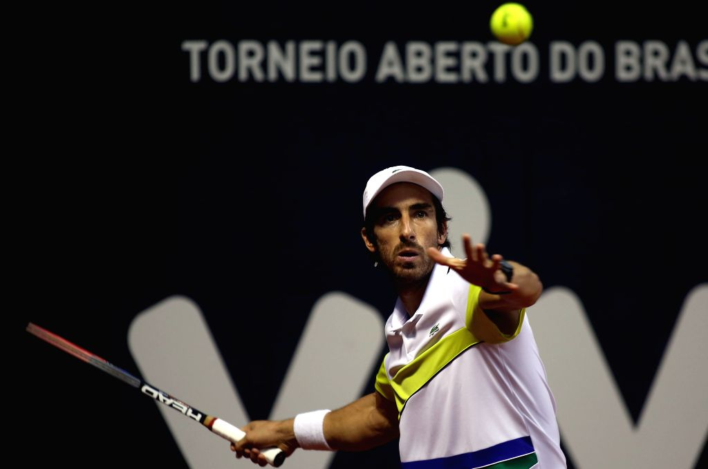SAO PAULO, March 7, 2017 - Pablo Cuevas of Uruguay returns the ball to Albert Ramos-Vinolas of Spain during the men's individal final match of the ATP World Tour Brazil Open 2017 in Sao Paulo, ...