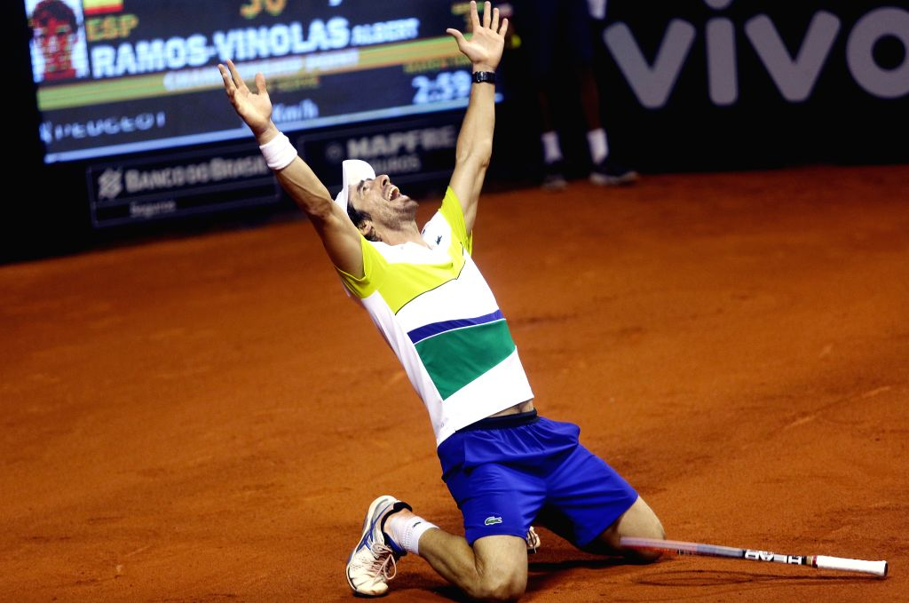 SAO PAULO, March 7, 2017 - Pablo Cuevas of Uruguay celebrates after winning the men's individal final match of the ATP World Tour Brazil Open 2017 against Albert Ramos-Vinolas of Spain in Sao Paulo, ...
