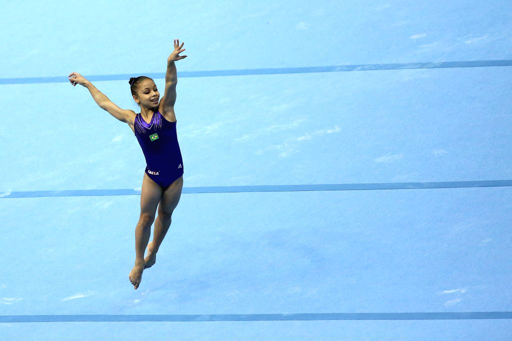 Flavia Saraiva of Brazil competes during the women's floor competition at the Artistic Gymnastics World Challenge Cup in Sao Paulo, Brazil, on May 3, 2015. ...