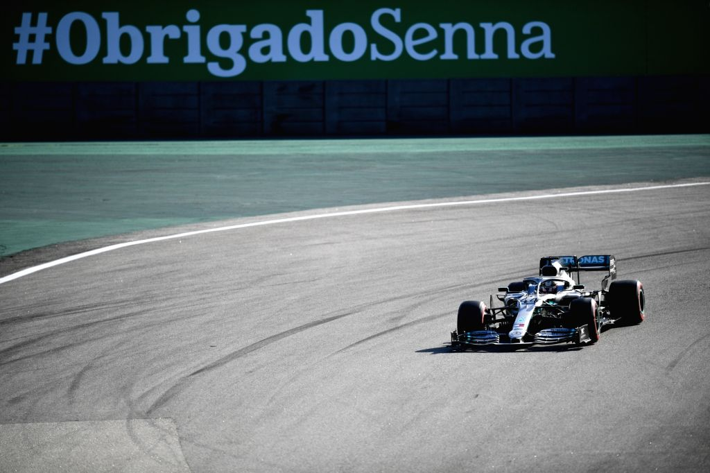 Sao Paulo, Nov. 17, 2019 - Mercedes's driver Lewis Hamilton of Britain races during the qualifying session of the the Formula One Brazilian Grand Prix held at the Jose Carlos Pace Circuit in Sao ...
