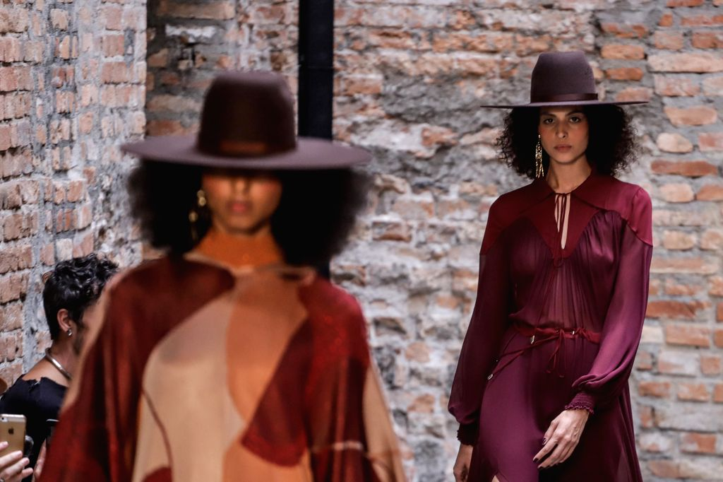 """SAO PAULO, Oct. 16, 2019 - Models present creations of """"Bobstore"""" collection during the Sao Paulo Fashion Week (SPFW)  in Sao Paulo, Brazil, on Oct. 15, 2019. The six-day, 48th SPFW will ..."""