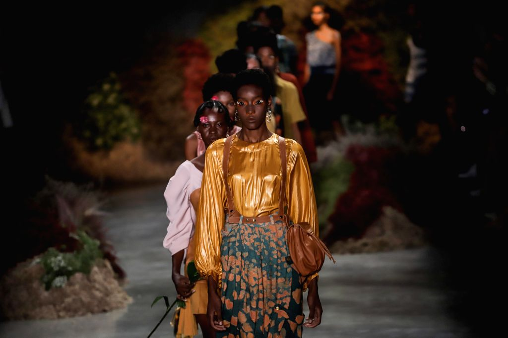 """SAO PAULO, Oct. 17, 2019 - Models present creations of """"Angela Brito"""" collection during the Sao Paulo Fashion Week (SPFW)  in Sao Paulo, Brazil, on Oct. 16, 2019."""