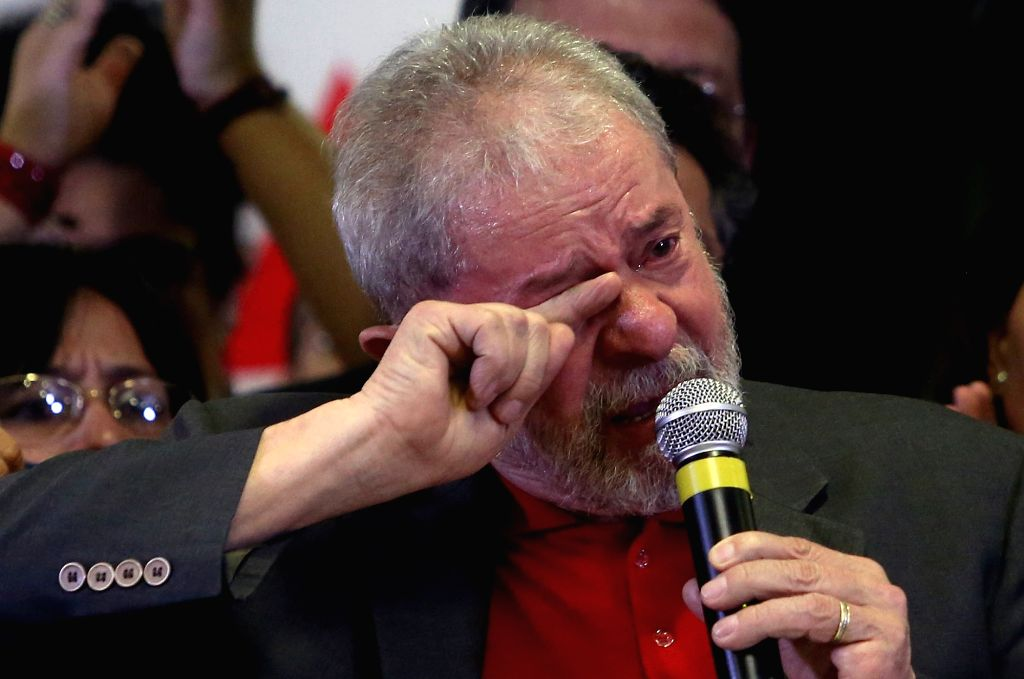 SAO PAULO, Sept. 15, 2016 - Former Brazilian President, Luiz Inacio Lula da Silva, reacts during a press conference on the accusations of corruption against him in Sao Paulo, Brazil, on Sept. 15, ...