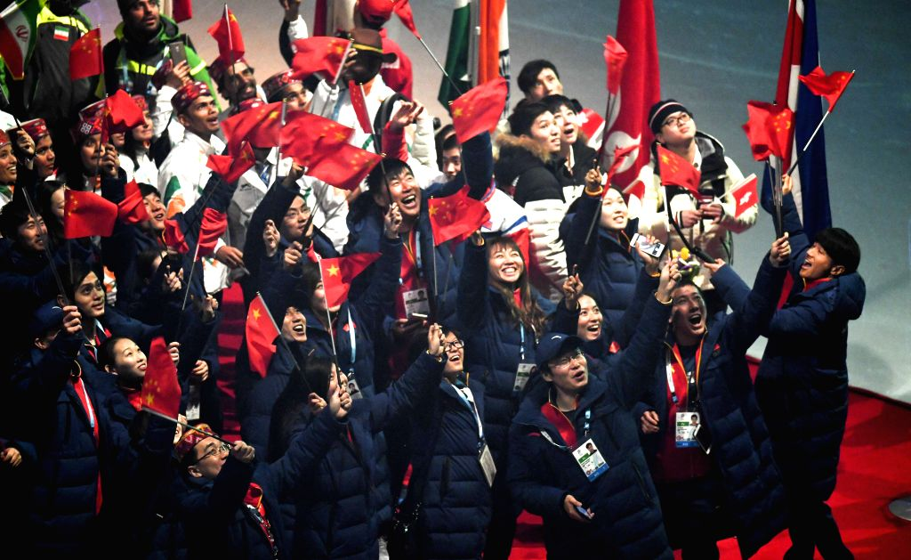 SAPPORO, Feb. 26, 2017 - Representatives of China's delegation attend the closing ceremony of the 2017 Sapporo Asian Winter Games in Sapporo, Japan, Feb. 26, 2017.