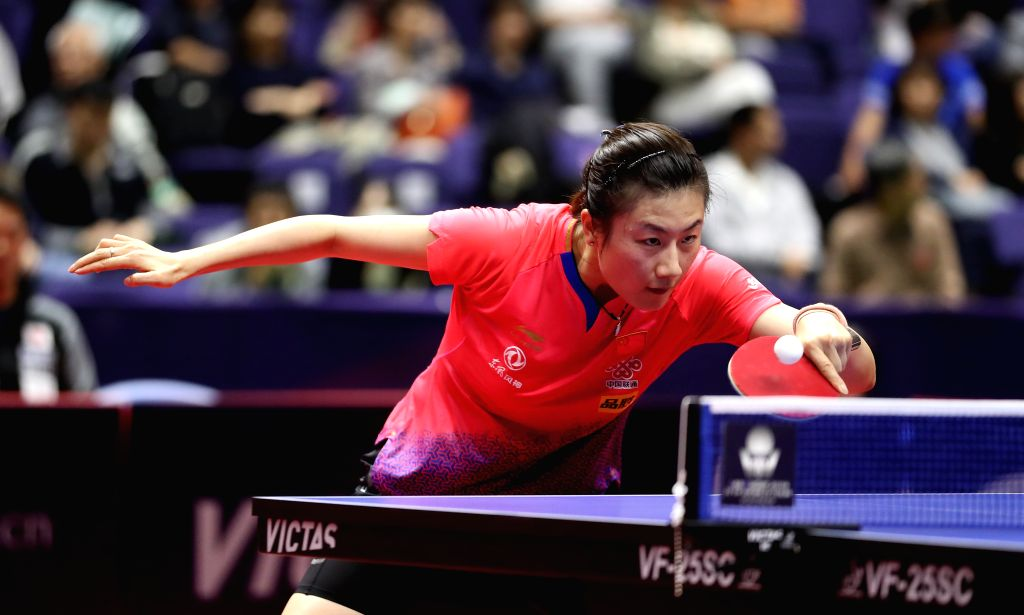 SAPPORO, June 14, 2019 - Ding Ning of China competes during the women's singles round of 16 match against Sato Hitomi of Japan at ITTF World Tour Platinum Japan Open in Sapporo, Japan, on June 14, ...