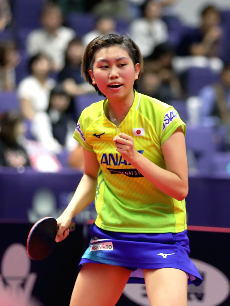 SAPPORO, June 14, 2019 - Sato Hitomi of Japan celebrates during the women's singles round of 16 match against Ding Ning of China at ITTF World Tour Platinum Japan Open in Sapporo, Japan, on June 14, ...