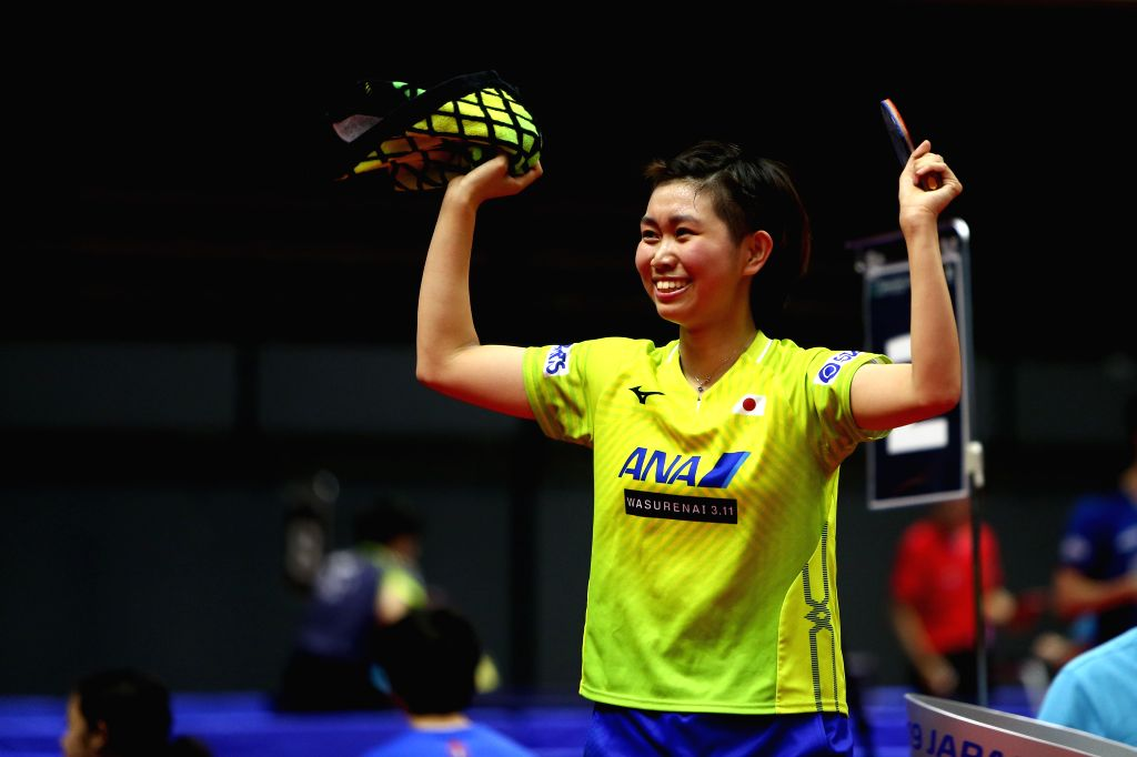 SAPPORO, June 14, 2019 - Sato Hitomi of Japan celebrates after the women's singles round of 16 match against Ding Ning of China at ITTF World Tour Platinum Japan Open in Sapporo, Japan, on June 14, ...