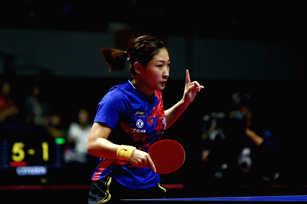 SAPPORO, June 16, 2019 - Liu Shiwen of China celebrates during the women's singles semifinal match against Miu Hirano of Japan at ITTF World Tour Platinum Japan Open in Sapporo, Japan, on June 16, ...