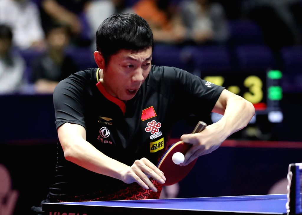 SAPPORO, June 16, 2019 - Xu Xin of China competes during the men's singles semifinal match against Fan Zhendong of China at ITTF World Tour Platinum Japan Open in Sapporo, Japan, on June 16, 2019. Xu ...