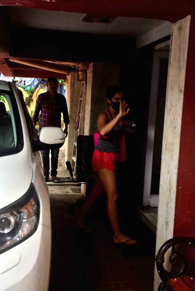 Sara Ali Khan Spotted Outside Pilates Gym At Santacruz on 24 june,2021.