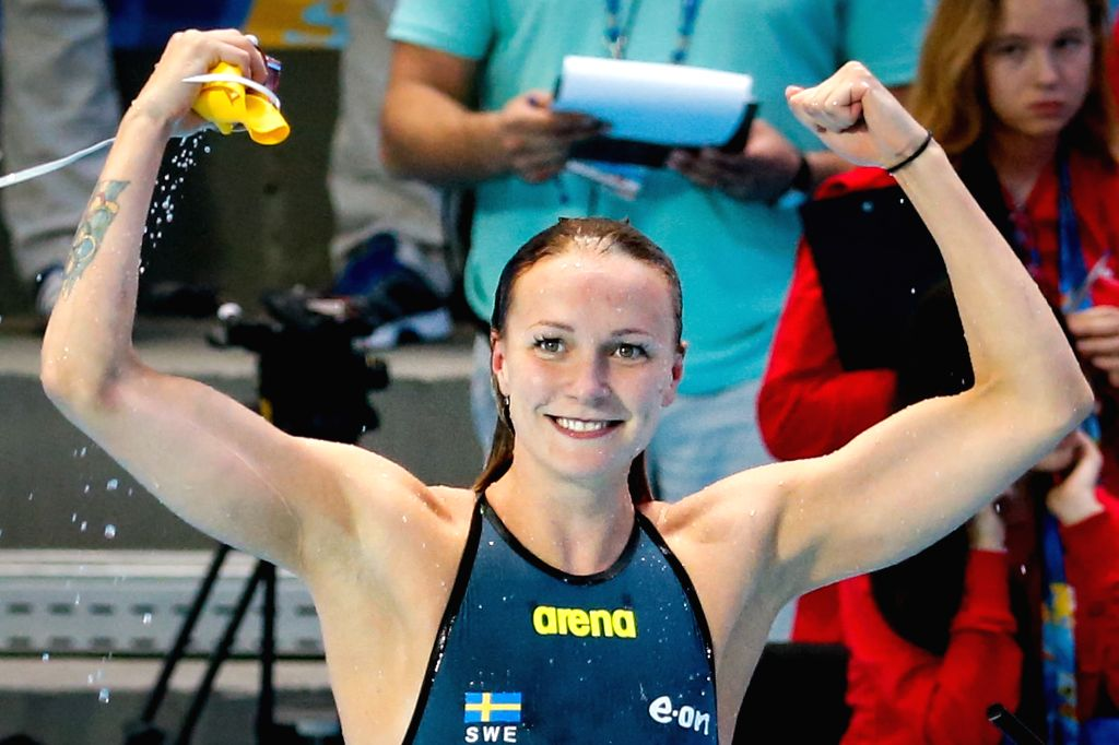 Sarah Sjostrom of Sweden celebrates after the women's 50m butterfly swimming final at FINA World Championships in Kazan, Russia, Aug. 8, 2015. Sarah Sjostrom claimed ...