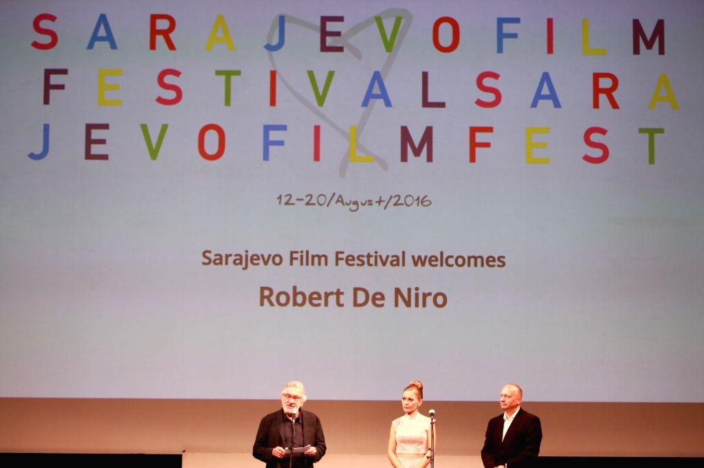 SARAJEVO, Aug. 13, 2016 - U.S. actor Robert De Niro (L) addresses the opening ceremony of the 22nd Sarajevo Film Festival held in Sarajevo, Bosnia and Herzegovina, Aug. 12, 2016. A total of 222 films ... - Robert D