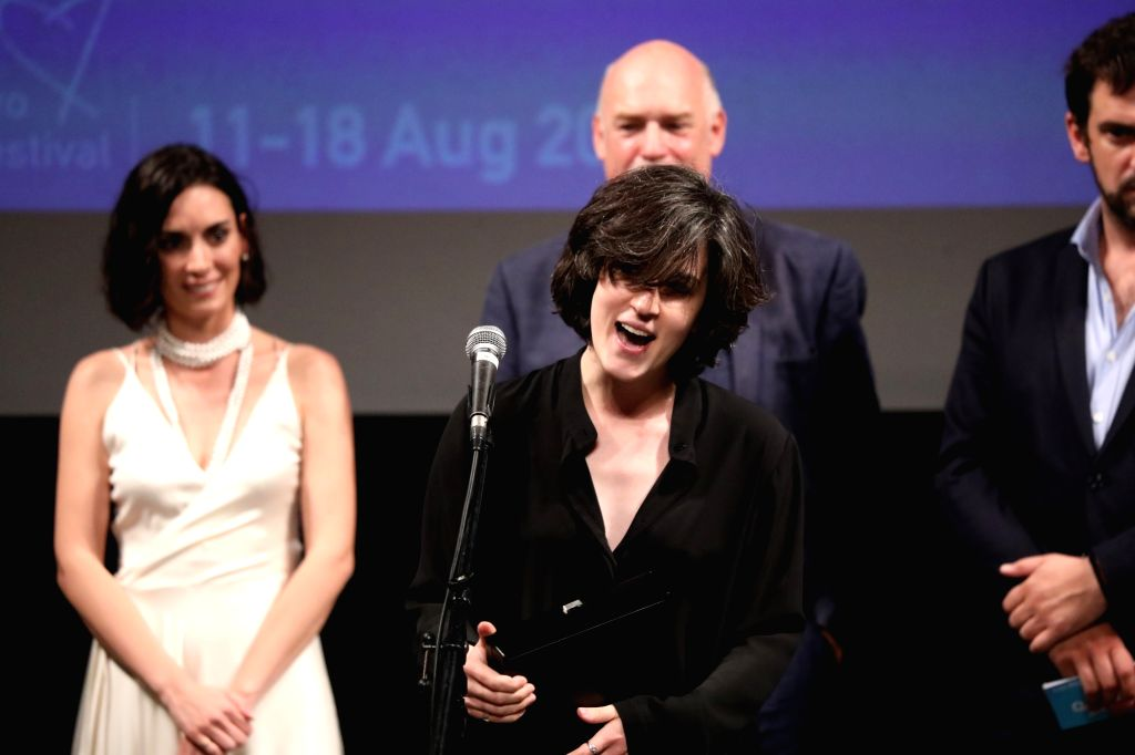 "SARAJEVO, Aug. 18, 2017 - Director of Georgian movie ""Scary Mother"", winner of the best film at the 23rd Sarajevo Film Festival (SFF) Ana Urushadze (C), speaks to the audience at the ..."