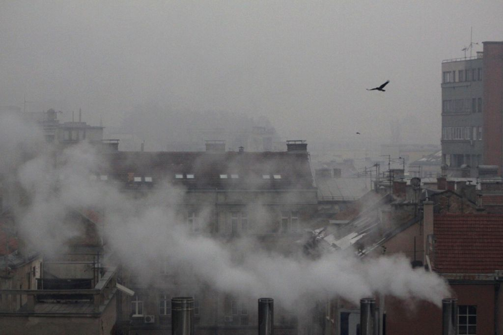 A bird flies in the heavy smog in Sarajevo, capital of Bosnia and Herzegovina, on Dec. 19, 2013. Air pollution in winter in Sarajevo became serious due to ...