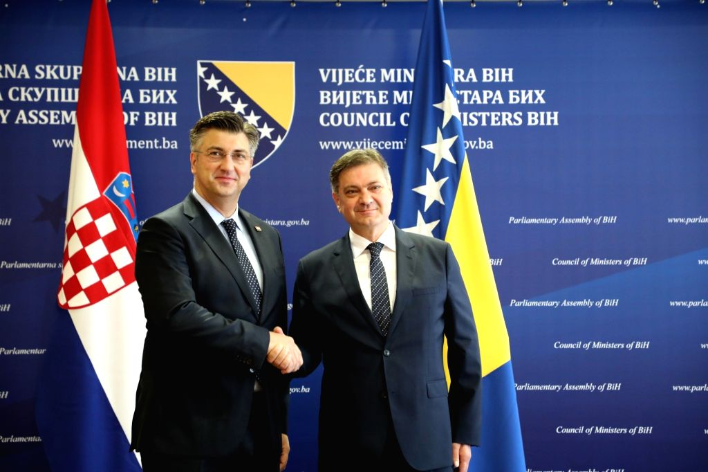 SARAJEVO, July 7, 2017 - Chairman of Council of Ministers of Bosnia and Herzegovina (BiH) Denis Zvizdic (R) shakes hands with Croatian Prime Minister Andrej Plenkovic during their meeting in ... - Andrej Plenkovic