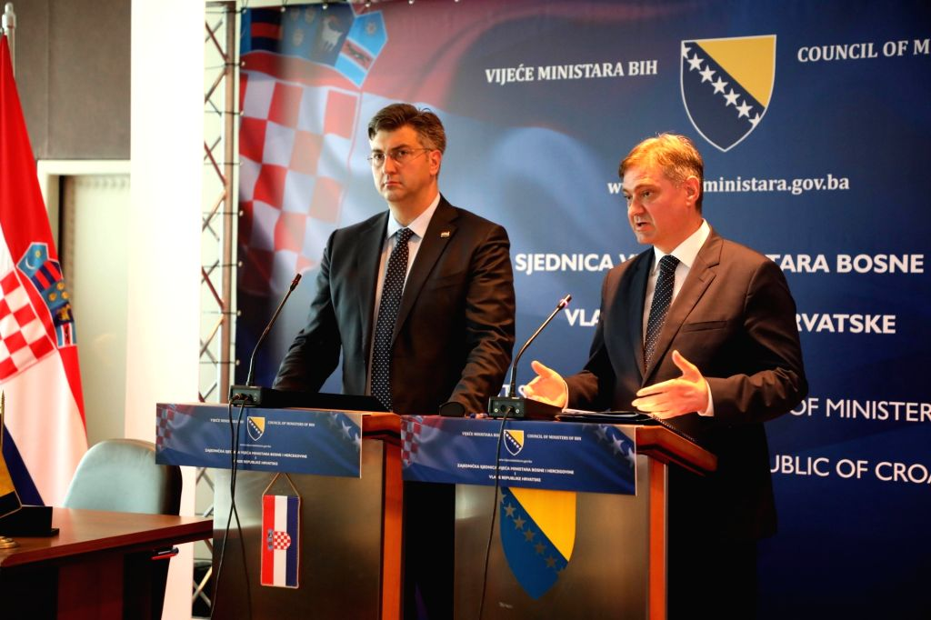 SARAJEVO, July 7, 2017 - Chairman of Council of Ministers of Bosnia and Herzegovina (BiH) Denis Zvizdic (R) and Croatian Prime Minister Andrej Plenkovic attend a joint press conference in Sarajevo, ... - Andrej Plenkovic