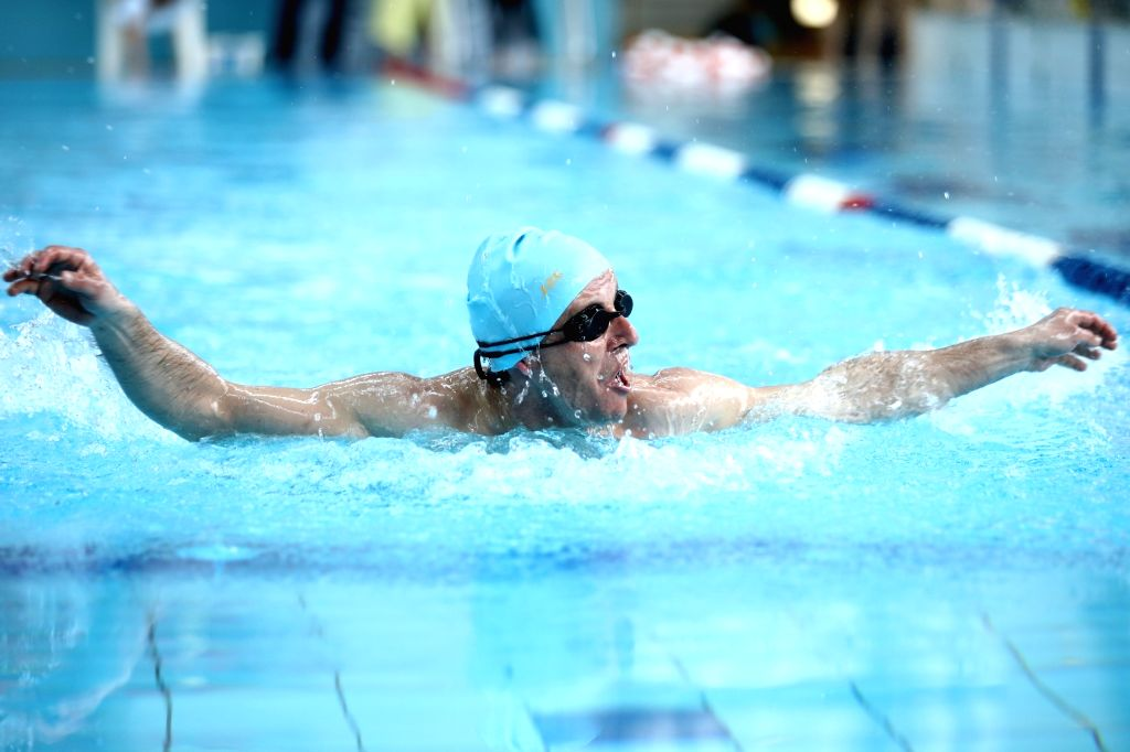 """SARAJEVO, March 15, 2019 - Nemanja Sevic of Special Sports Club Banja Luka competes during an international swimming competition """"Oaza Open"""" for persons with intellectual difficulties in ..."""