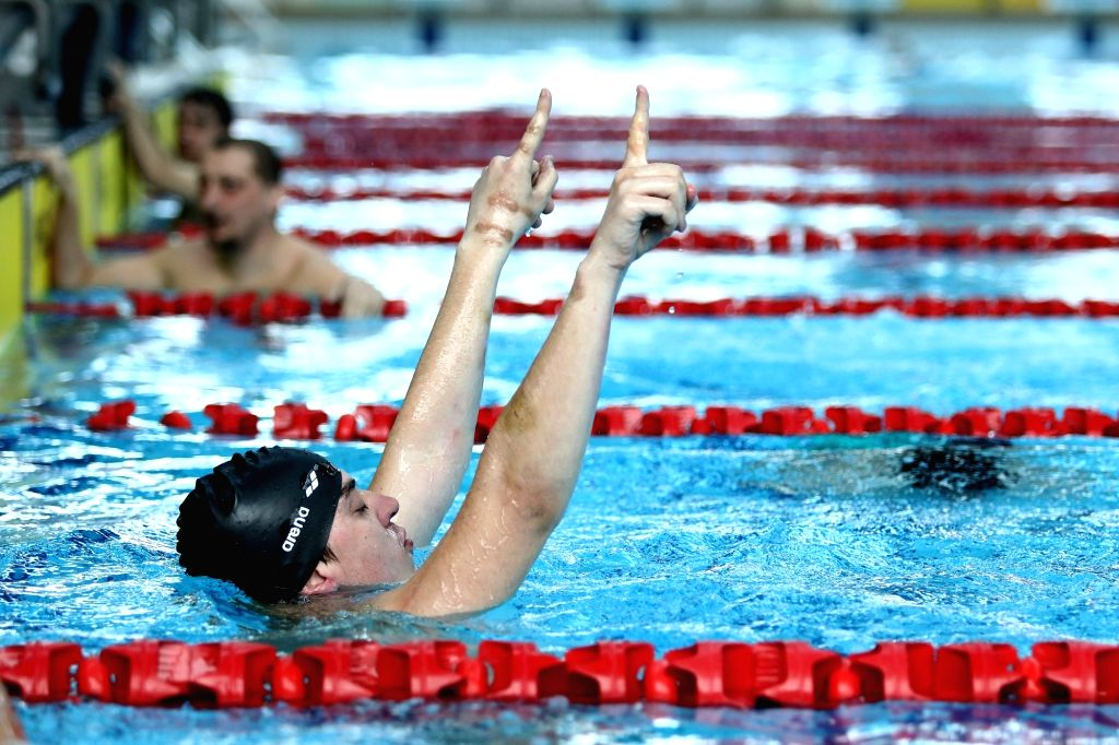 """SARAJEVO, March 15, 2019 - Sinisa Stepanov of Center Milan Petrovic Novi Sad celebrates during an international swimming competition """"Oaza Open"""" for persons with intellectual difficulties ..."""